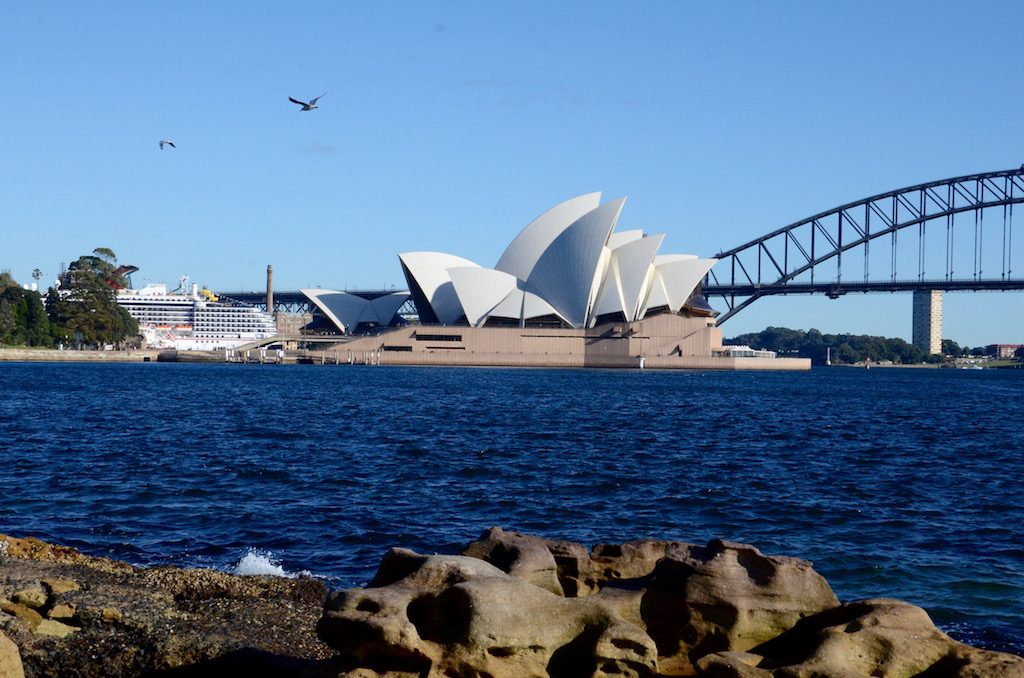 A classic angle of the Sydney opera house from across the harbor.