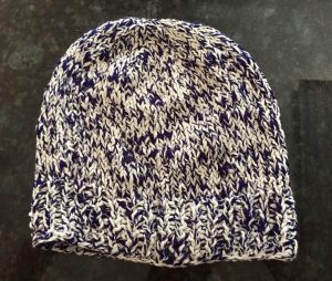 Blue and white handmade hat.