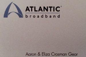 Picture of an envelop from Atlantic Broadband to: Aaron & Eliza Crosman Geor