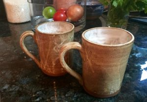 Two hand made mugs