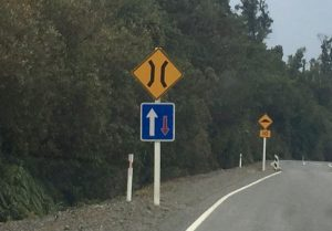 New Zealand yield sign for one way bridge.