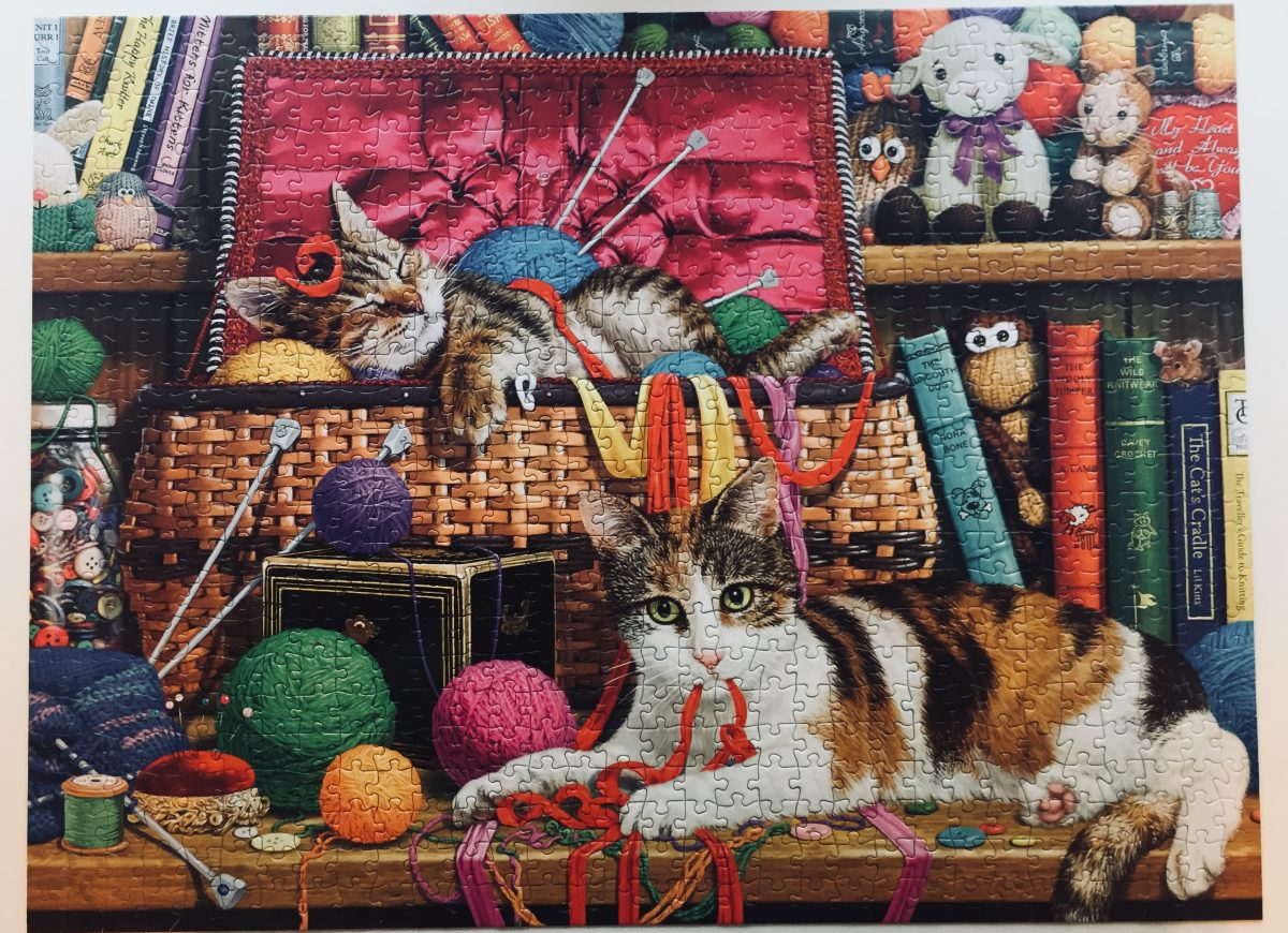 A puzzle of cats with yarn and books.