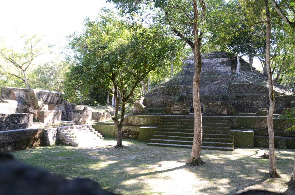 An open public square surrounded by Mayan buildings and filled with trees.