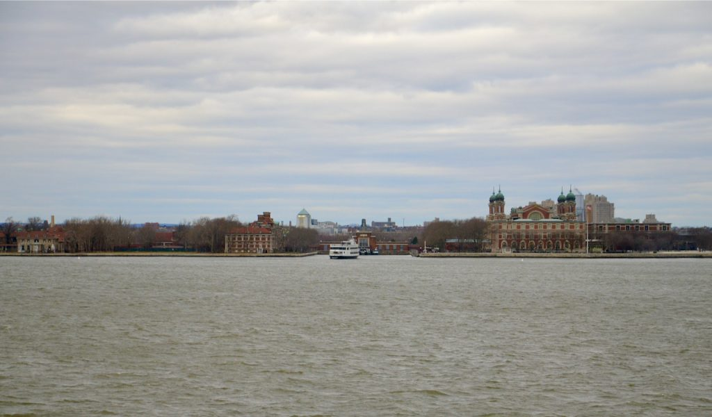 The main entrance to Ellis Island taken from the Station Island Ferry.