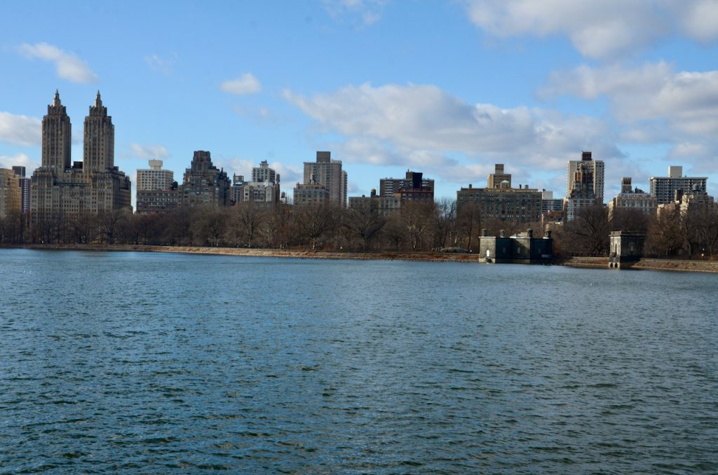 A picture of park of JFK reservior in Central Park.