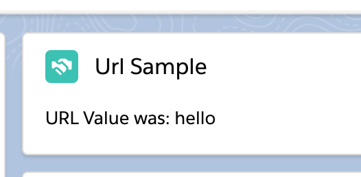 "A screenshot of the sample component displaying the provided text of ""hello""."